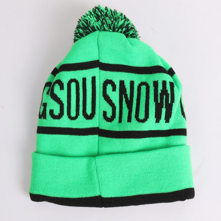 Горнолыжная шерстяная женская зеленая шапка фото