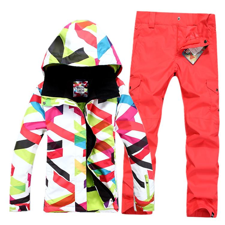 Женский зимний лыжный костюм Gsou SNOW, женский сноубордический костюм ROXY, женская зимняя лыжная экипировка, женская спортивная зимняя лыжная одежда фото