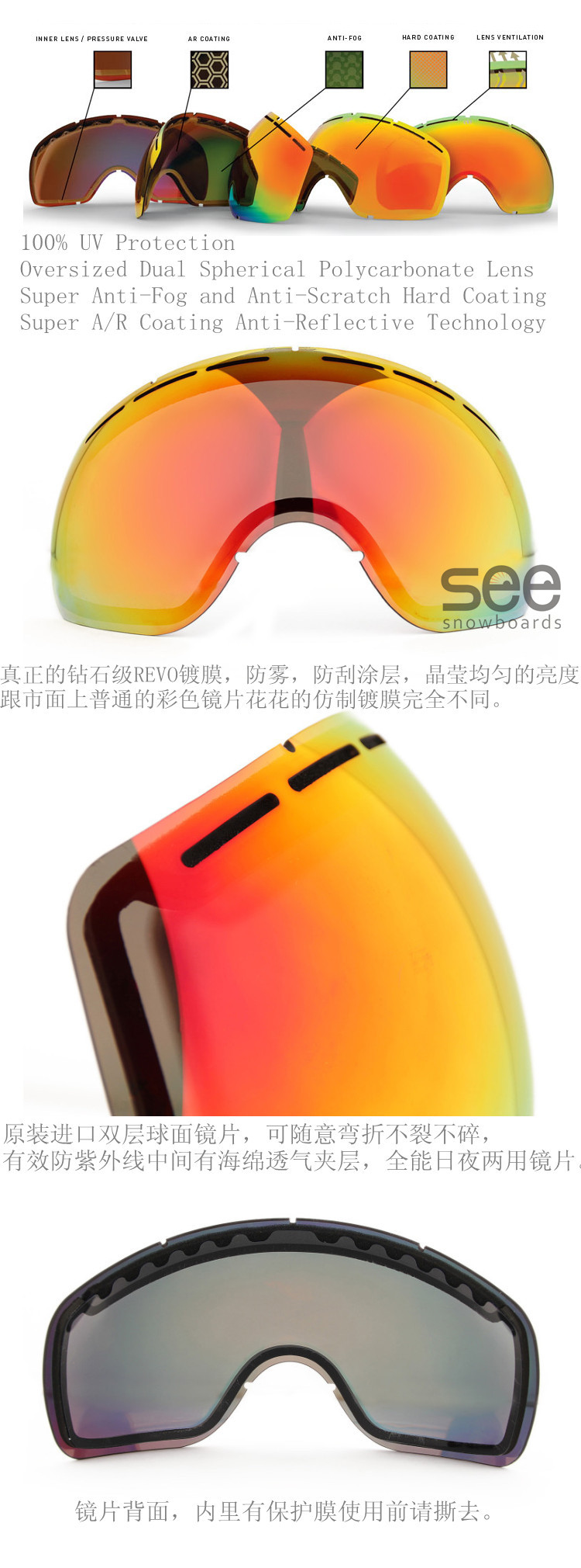 Бескаркасная сноубордическая маска (очки) с двухслойными поликарбонатовыми сферическими линзами  качественные солнцезащитные очки для сноуборда или маска для сноуборда