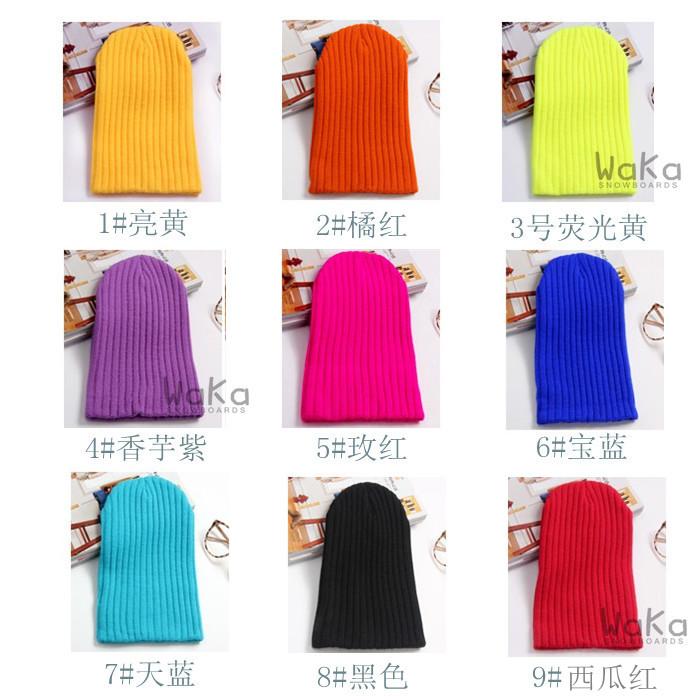 желтая, фиолетовая, голубая, оранжевая, розовая, черная, красная, синяя, ярко желтая лыжная шапка мужская и женская фото