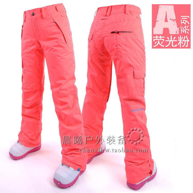 красные женские горнолыжные брюки фото