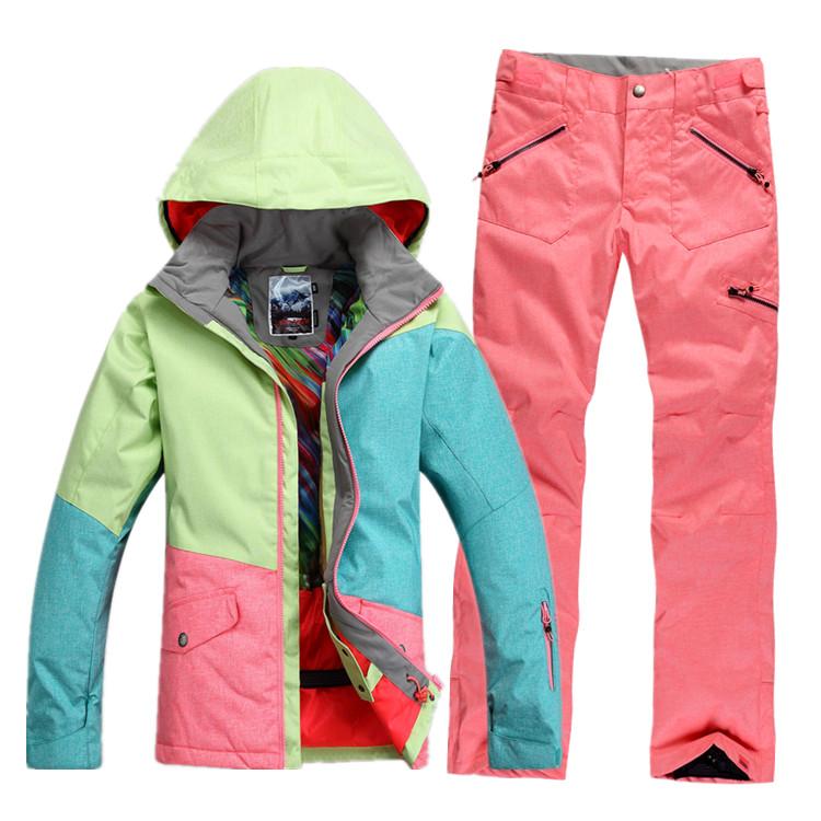 Теплый, водонепроницаемый, ветрозащитный женский зимний горнолыжный костюм Gsou SNOW, женский сноубордический костюм Gsou SNOW, женская зимняя горнолыжная экипировка, женский костюм для сноуборда