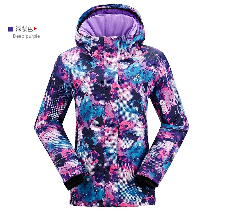 Женская модная самая лучшая красивая зимняя горнолыжная куртка PELLIOT фиолетового цвета модель 2016 2017 2018 2019 фото
