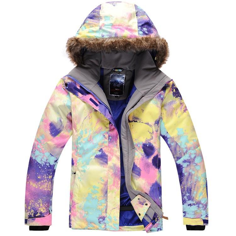 f78134d4c6412 Женская зимняя горнолыжная куртка Gsou SNOW, красивый женский  сноубордический костюм Gsou SNOW, горнолыжная экипировка